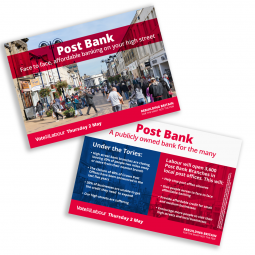 Image of labour's leaflet outlining plans for high street banking