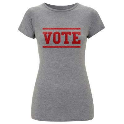 Women's grey t-shirt with red vote slogan