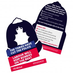 Image of diecut the Tories have cut the police - Labour will keep bobbies on the beat leaflet
