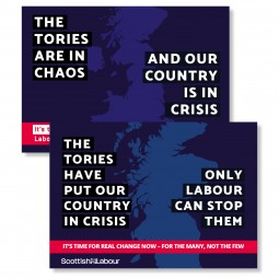 Image of the Tories are in chaos and our country is in crisis leaflet.
