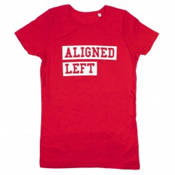 Image of red t-shirt with aligned left slogan