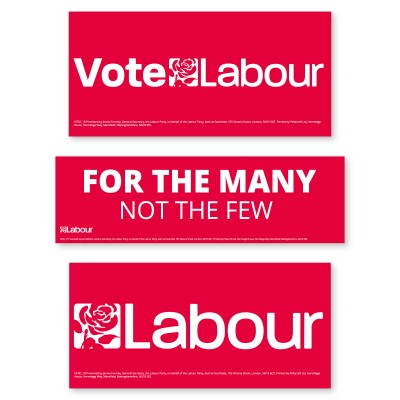 Picture of 3 window stickers, Vote Labour, For The Many Not The Few, Labour