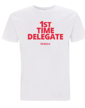 white t-shirt with 1st time delegate slogan