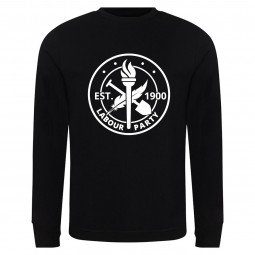 Large heritage logo on black sweatshirt