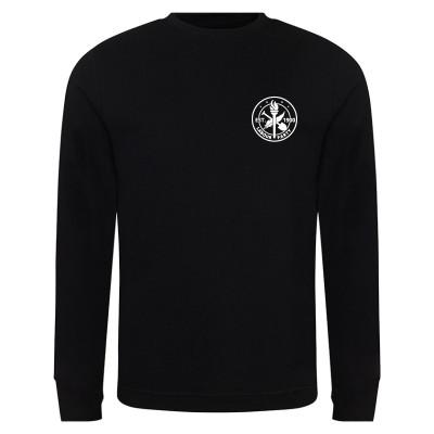 Small heritage logo left breast on black sweatshirt