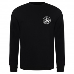 Small heritage logo left breast on black sweatshirt