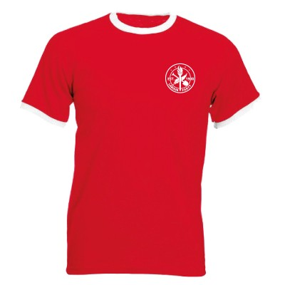 Red tshirt with white cuffs with heritage logo on left breast