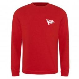 Small flag logo on left breast. Red Sweatshirt