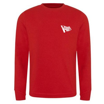 Small flag logo on left breast. Red Sweatshirt