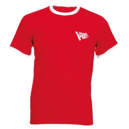 Red Tshirt with white cuffs and Labour flag logo on left breast
