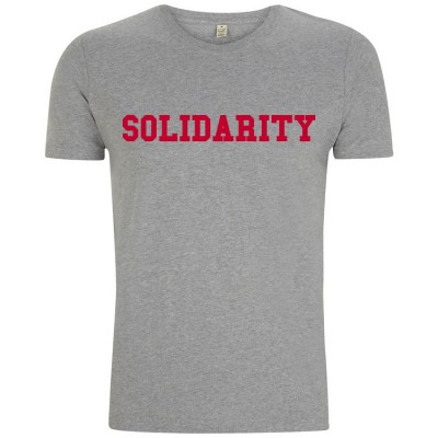 Image of men's grey t-shirt with red solidarity slogan