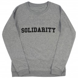 Men's grey sweater with solidarity slogan in black