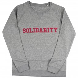 Men's grey sweater with solidarity slogan in red