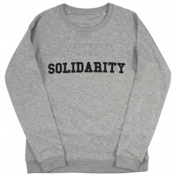 Women's grey sweater with solidarity slogan