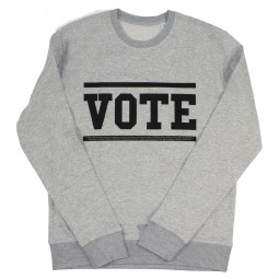 Men's grey sweater with vote slogan in black