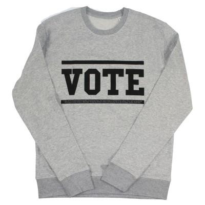Men's grey sweater with vote slogan in black