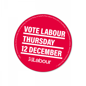 Vote Labour 12 December stickers