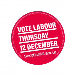Vote Scottish Labour 12 December stickers