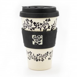 Image of labour eco cup with black rose design