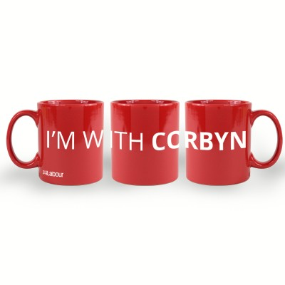 Red mug with I'm with Corbyn slogan
