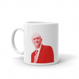 image of Jeremy Corbyn white mug with red image