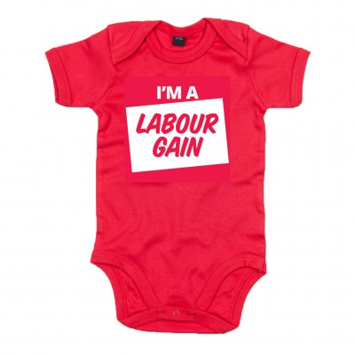 Image of babygrow with I'm a labour gain slogan
