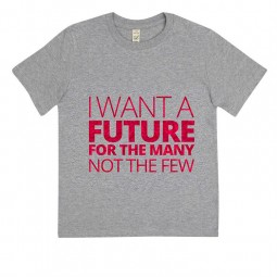 Image of childs t-shirt with I want a future for the many in glitter writing