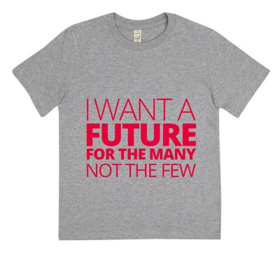 Image of childs t-shirt with I want a future for the many slogan