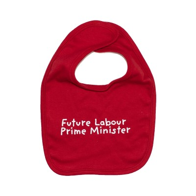 Image of baby bib with future labour prime minister slogan
