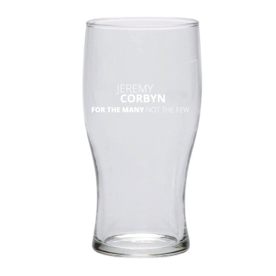 Picture of pint glass with Jeremy Corbyn slogan on it