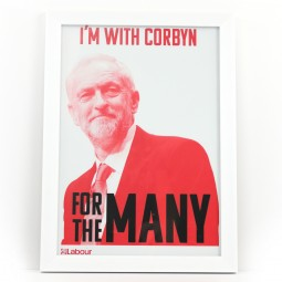 Picture of Jeremy Corbyn white framed print