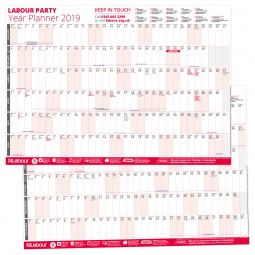 Image of both sides of the 2019 Labour wall planner