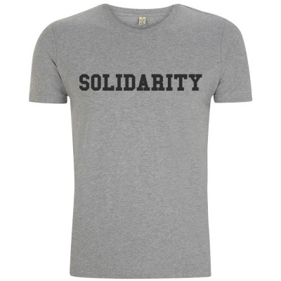 Image of men's grey solidarity t-shirt with black logo