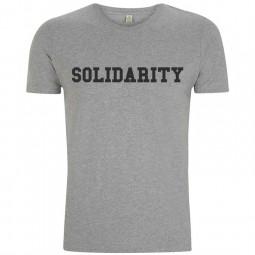 Image of men's grey solidarity t-shirt with black logo
