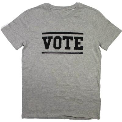 Men's grey t-shirt with vote slogan in black