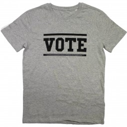 Men's grey t-shirt with vote slogan in black