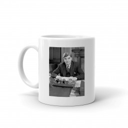 Image of Nye Bevan mug with picture of Nye in black and white