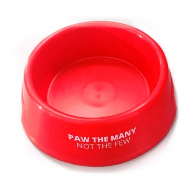 Red pet bowl with Paw the Many not the Few on the side