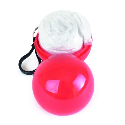 Image of clear poncho packed into a red ball container