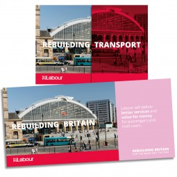 Images shows both sides of Labour's Rebuilding Britain transport leaflet