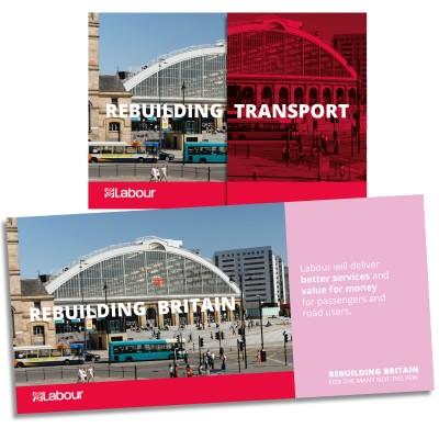 Images shows both sides of Labour's Rebuilding Britain transport leaflet