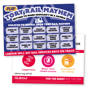 Tory Rail Mayhem (Scratch card leaflet)