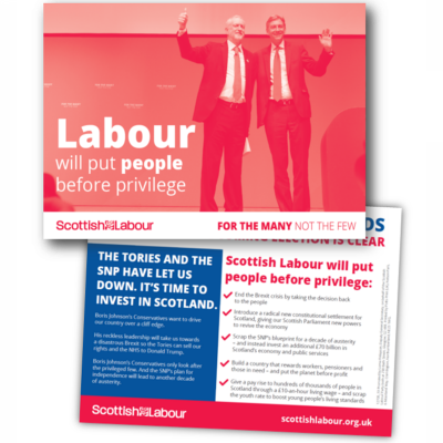 Image of the Labour will put people before privilege leaflet (Scotland version)