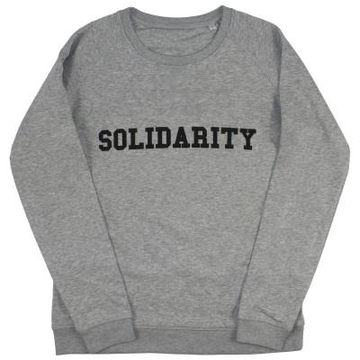 Men's grey sweater with solidarity slogan in black