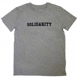 Men's grey t-shirt with solidarity slogan