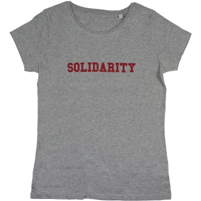 women's grey t-shirt with solidarity slogan in red
