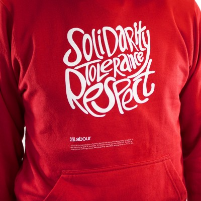 Close up of a red hoodie with Solidarity slogan