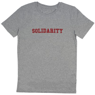 Men's grey t-shirt with red solidarity slogan