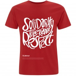 Image of Labour's solidarity tolerance and respect slogan t-shirt