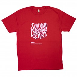 Red t-shirt with solidarity tolerance and respect slogan
